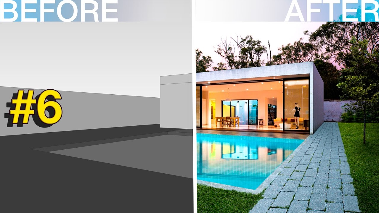 Photoshop Architecture Visualization #6 Modern house with ...