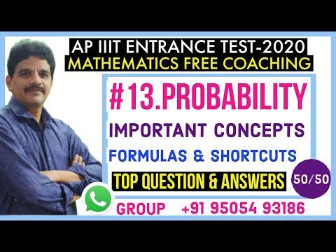 AP IIIT ENTRANCE TEST- PROBABILITY BASIC CONCEPTS, FORMULAS, SHORTCUTS | IIIT ENTRANCE MATERIAL |
