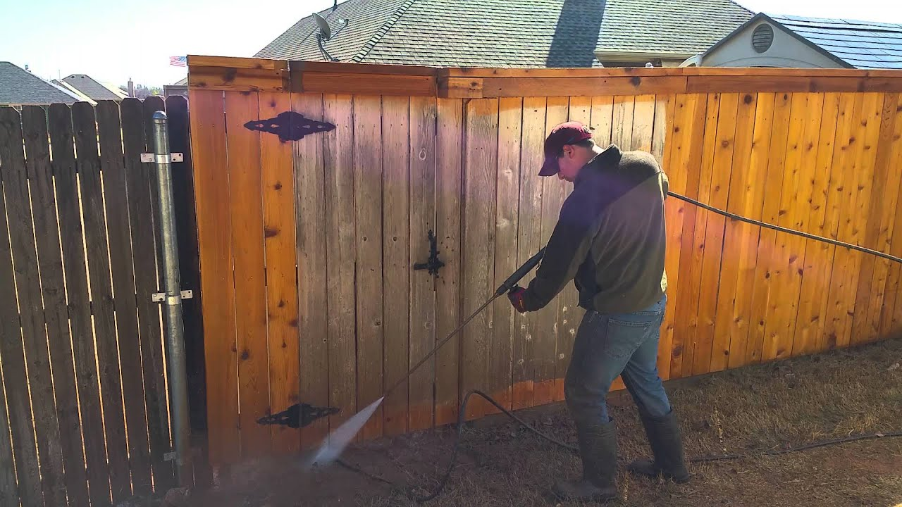 Pressure Washing A Wood Fence Youtube
