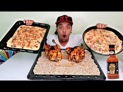تحدي كميات الاكل 2فرخة طبق رز عملاق 2 بيتزا عائلي حاره بدون مشروبات مع العقاب