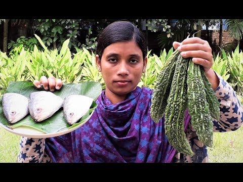 Bengali Recipe Hilsha Fish Head and Bitter Gourd Curry | Healthy Cooking By Street Village Food