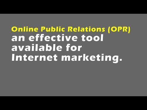 Online public relations (OPR)