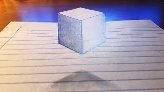 Floating 3D Cube - Trick Art on Paper | Draw step by step.