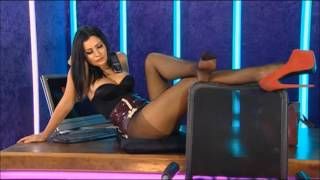 Amy on red light central tv in sexy black pantyhose