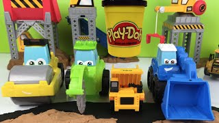 Play Doh play with CAT Construction & Diggin' rigs vehicles: Dump Truck Loader Roller