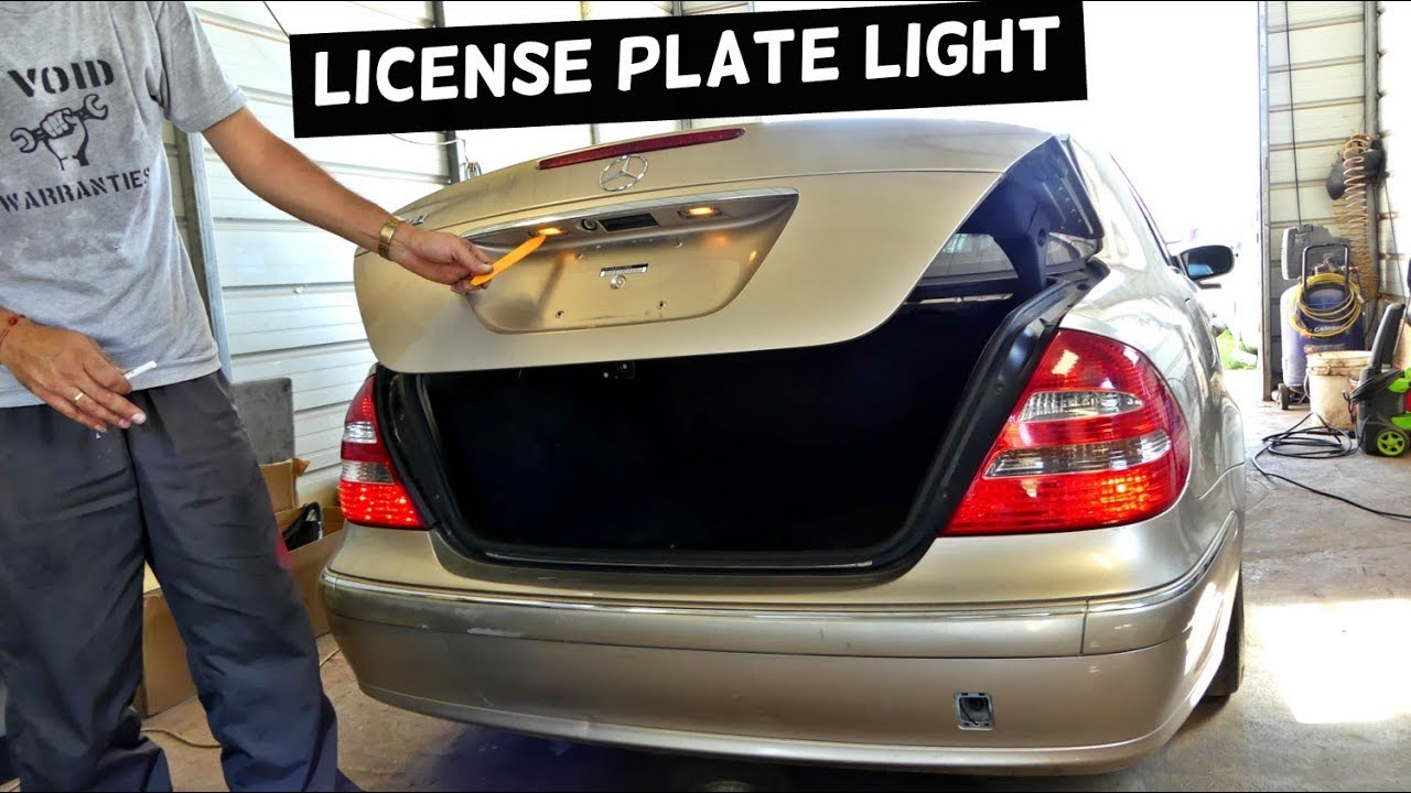 mercedes w211 tag light license plate light bulb replacement [ 1280 x 720 Pixel ]