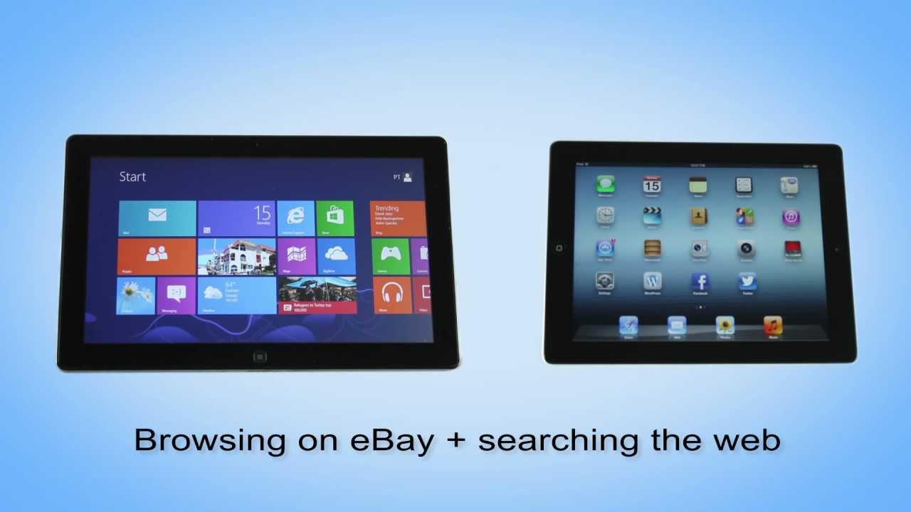 Windows 8 & IE10 vs  iOS & Safari -- Browsing eBay + searching the Web