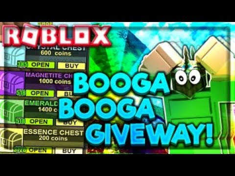 ROBLOX - BOOGA BOOGA - OPENING 2726 ESSENCE, 518 EMERALD CHESTS, GIVING 62,928,792,724 COINS & MORE