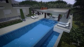 3d Patio Design Ideas - Custom Pergola Design - Outdoor Sitting Area & Pool - Urban Landscape Design