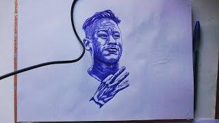 Neymar Jr Pen Drawing - Barcelona