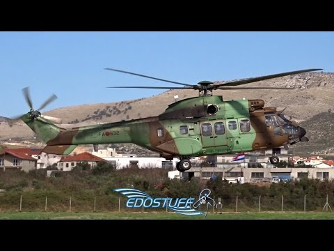 Windy Helicopter Landing - Albanian Air Force Eurocopter AS-532AL Cougar - Split Airport LDSP/SPU