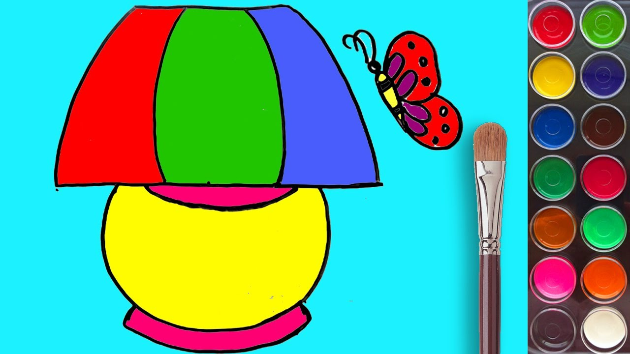 How to Draw a Bed Lamp with Coloring Pages and Water Colors for ...