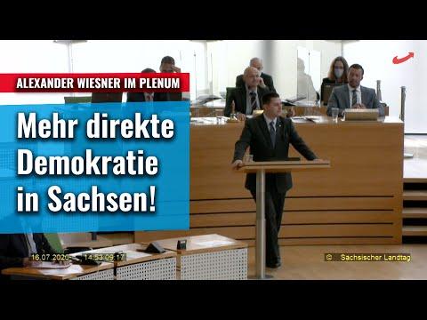 Mehr direkte Demokratie in Sachsen - Alexander Wiesner AfD fordert im Plenum