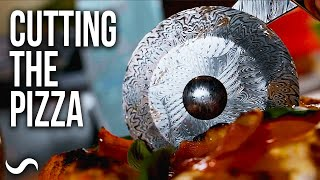 MAKING A PIZZA CUTTER STAND AND CUTTING THE PIZZA!!!