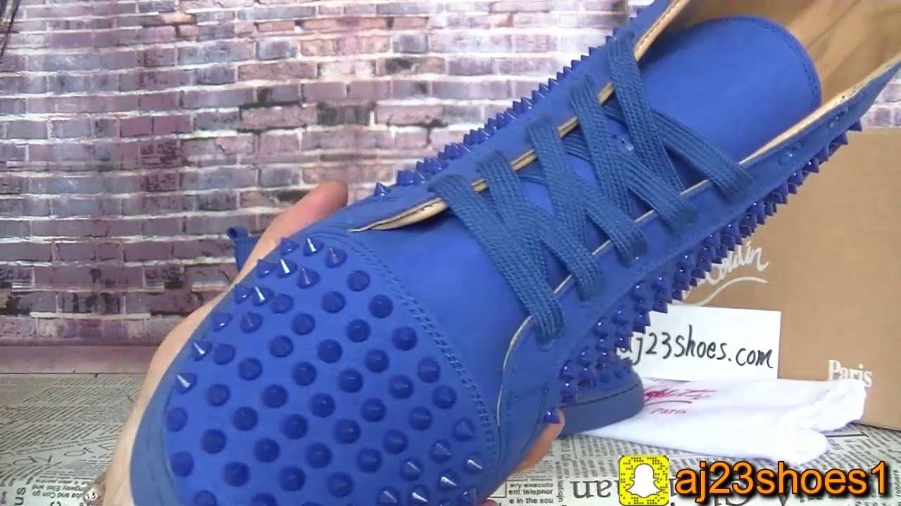Christian Louboutin Sneakers Spikes Blue High Top Review From Aj23shoes Net