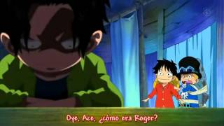 One Piece - Luffy le dice a Ace que su padre es Gold Roger