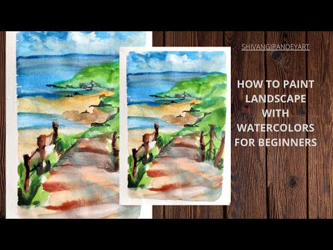 Simple watercolor landscape painting  beginners/scenery painting/ocean/mountains /step step tutorial