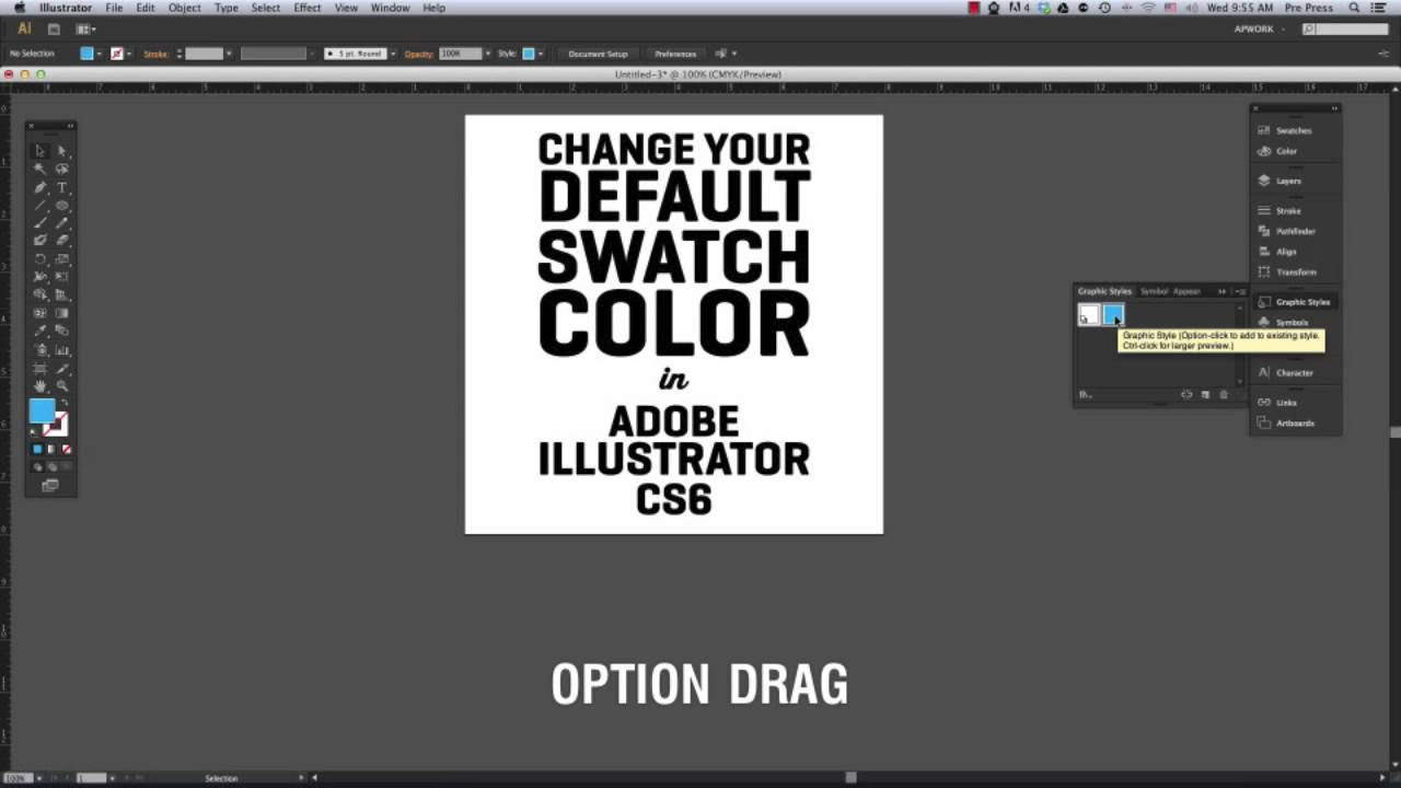 how to change the default swatch color in adobe illustrator cs6