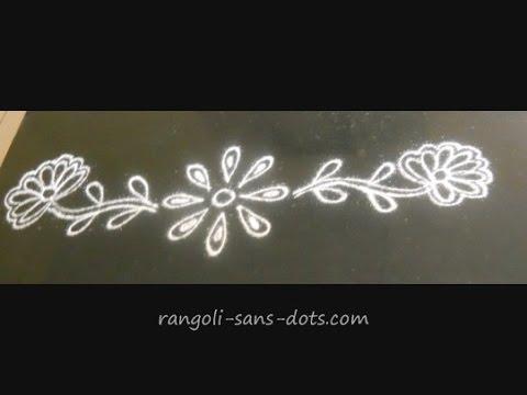 free hand muggulu borders | Sudha Balaji - YouTube