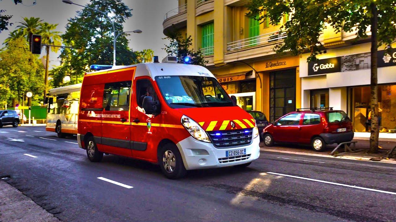 3x French E.M.S units responding - VSAV pompier de Nice en intervention - YouTube