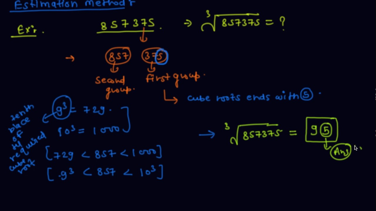 hight resolution of Estimation Method to Find Cube Root Of Any Number   Class 8 Mathematics  Cubes and Cube Roots - YouTube