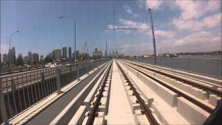 First G:link tram day time bridge run over the Nerang River, Gold Coast - GoPro