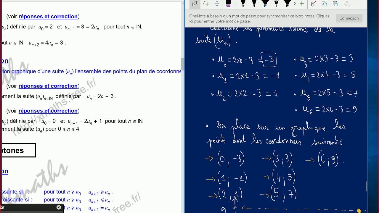 Suites Numeriques Rappels 1ere S Exercices Corriges Youtube