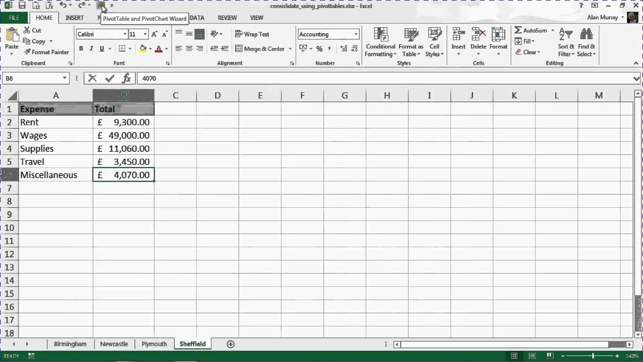 Consolidate Data from Multiple Sheets using PivotTables YouTube – Pivot Table Multiple Worksheets