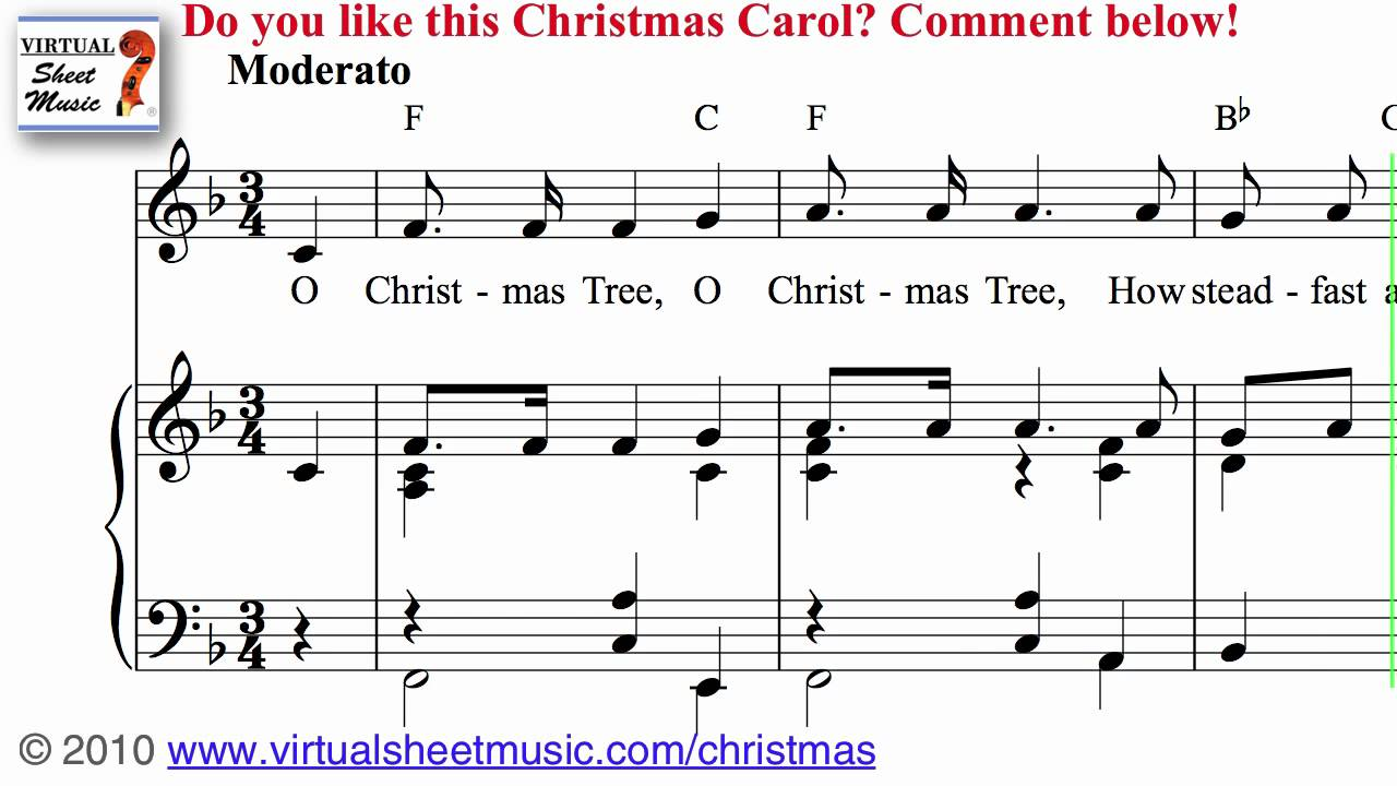 O Christmas Tree Sheet Music and Carol - Christmas Sheet Music Video ...
