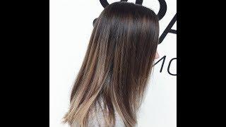 Омбре на темные волосы коричнево-розовый