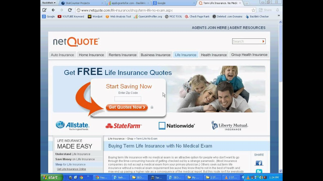 No Exam Life Insurance Quotes Cheap Life Insurance Rates Quote No Medical Exam  Youtube