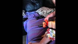 2 year old with nerf shotgun Video