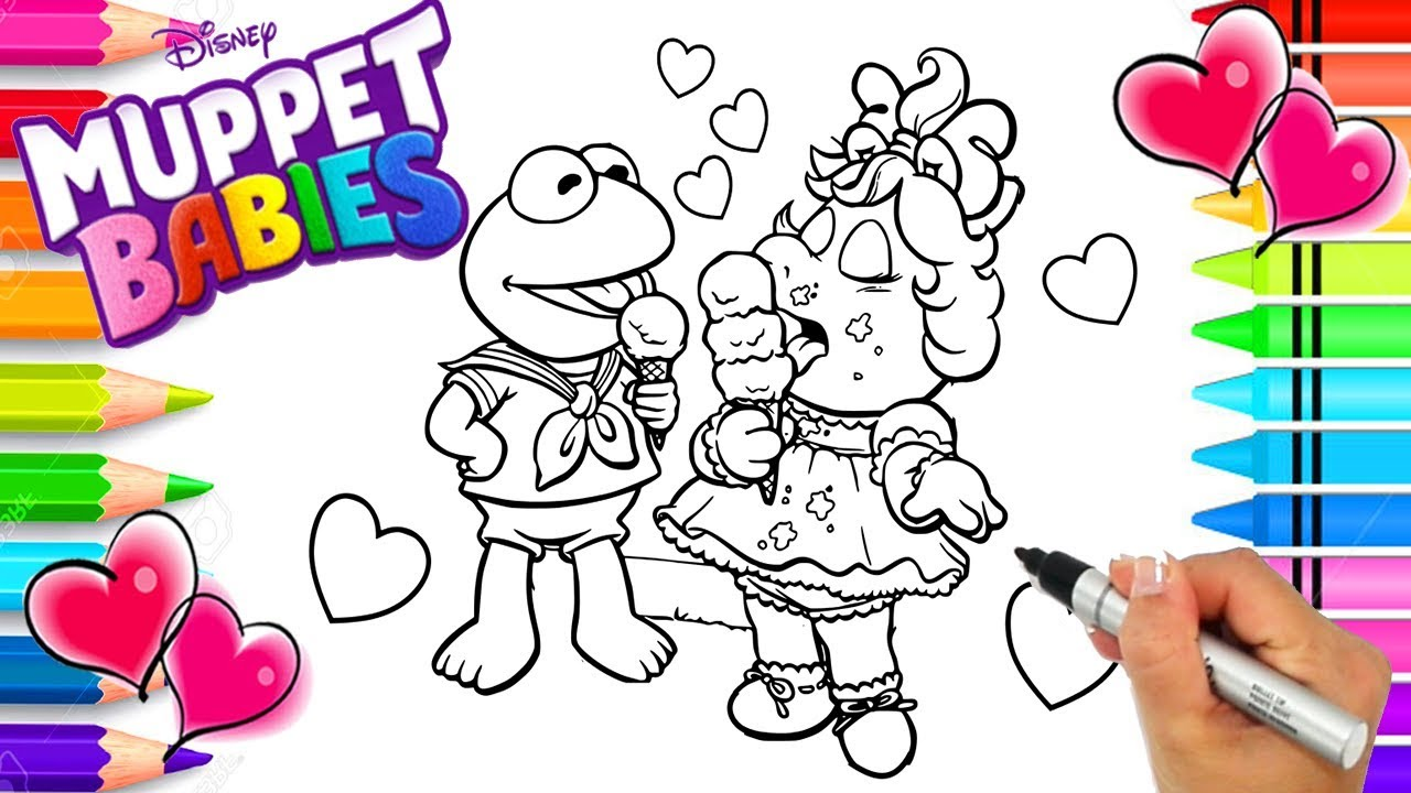 Disney Muppet Babies Coloring Page | Kermit and Miss Piggy | Muppet ...