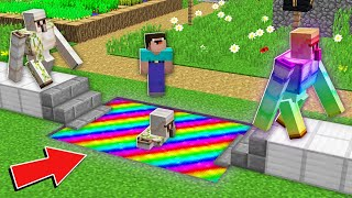 Minecraft NOOB vs PRO: WHY NOOB CREATE SUPER SECRET RAINBOW GOLEM IN VILLAGE Challenge 100% trolling