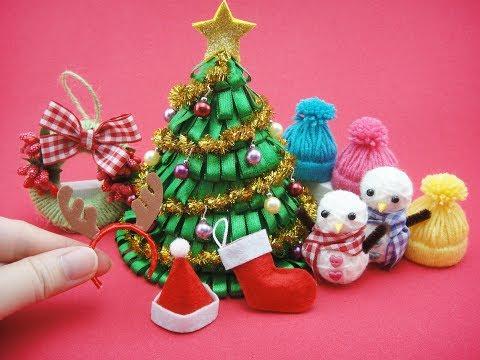 7 DIY Miniatures Mini Christmas For Barbie - Christmas Tree, Hat, Socks, Headband,Snowman