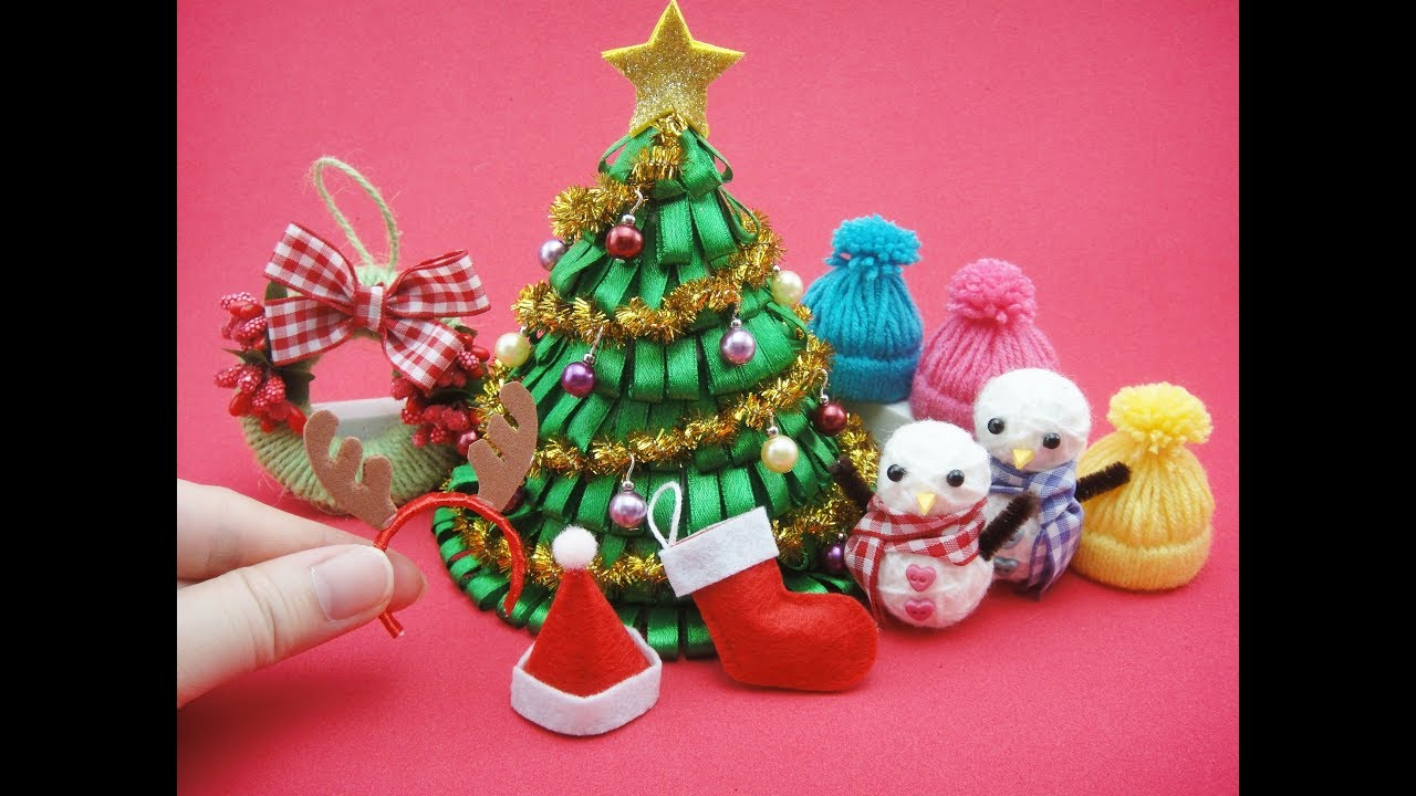 Christmas Headband Craft.7 Diy Miniatures Mini Christmas For Barbie Christmas Tree Hat Socks Headband Snowman