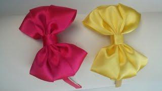 Laço de cetim – laço triplo na tiara – Sandra Monteiro