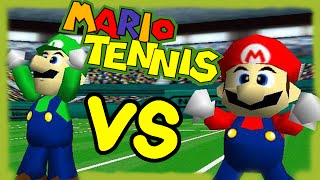 ABM: Mario Tennis 64 Gameplay Match !! Mario & Wario Vs Luigi & Toad !! HD