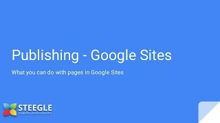 New Google Sites - Publishing