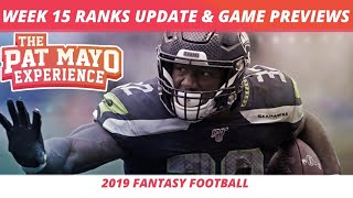 2019 Fantasy Football Week 15 Rankings Update Live — DraftKings Picks, Injuries & Viewer Chat