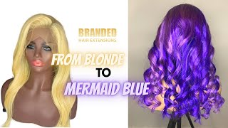 Color blonde wig to blue and purple highlight | Branded Hair Extensions