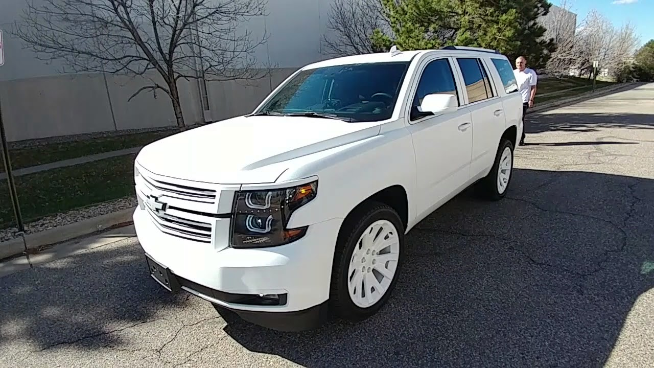 matte white wrap on 2016 chevy tahoe ltz at lynx customs. Black Bedroom Furniture Sets. Home Design Ideas