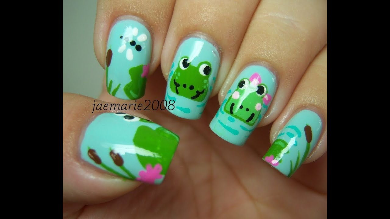 Meet me at the Pond! Frog Nail Design-Requested - YouTube