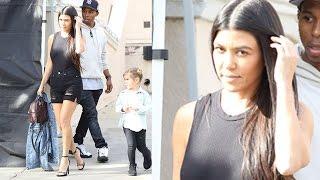 Kourtney Kardashian Flashes Her Legs At Rob's Birthday