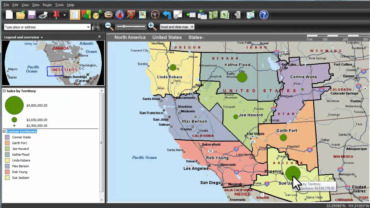 Microsoft MapPoint | Visualizing Sales Results Based on Territory ...