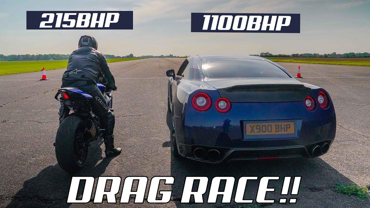 DRAG RACE!! TUNED YAMAHA R1 vs 1100BHP NISSAN GTR