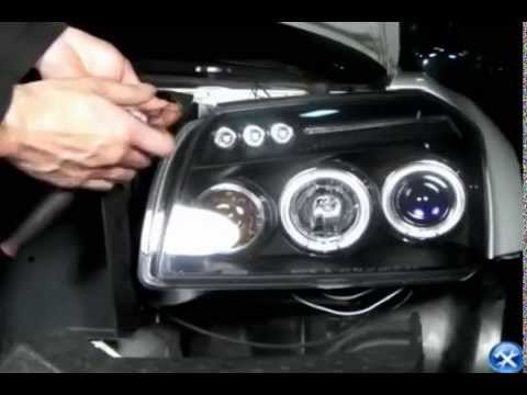 spec-d - halo projector headlights leds dodge magnum 2005-2007 installation  video - youtube