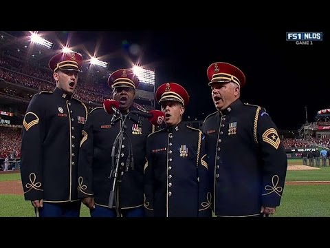 LAD@WSH Gm1: U.S. Army Chorus sings God Bless America