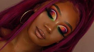 Berry Hair + Fall Colorful Matte Cut Crease Makeup Look | Tinashe Hair | MakeupTiffanyJ
