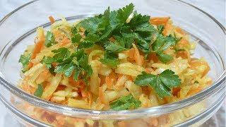 Овощной витаминный салат из редьки, капусты, моркови и яблок
